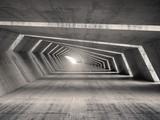 Fototapeta Perspektywa 3d - Abstract illuminated 3d empty bent concrete corridor interior