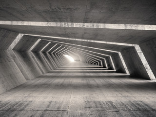Abstract illuminated 3d empty bent concrete corridor interior