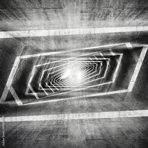 Abstract dark grungy concrete surreal tunnel interior #80898099
