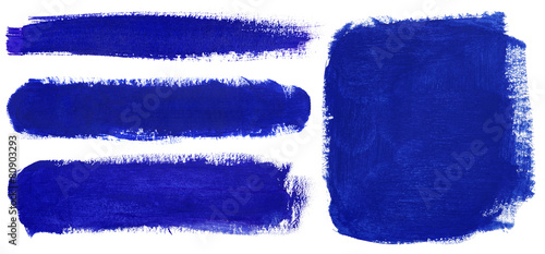 Blue strokes of gouache paint brush Fototapeta