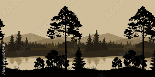 Spoed Foto op Canvas Grijze traf. Seamless Landscape, Trees, River and Mountains