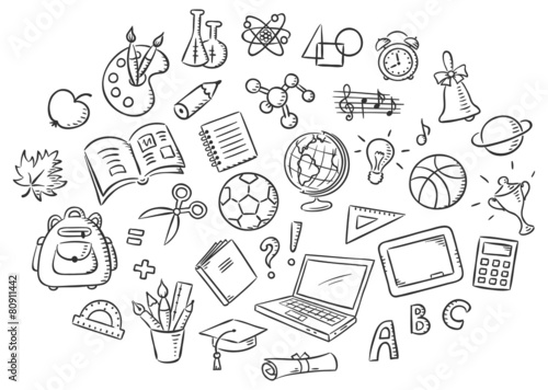 Fotografía  Set of Simple Cartoon School Things, Black and White Outline