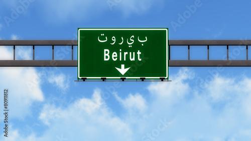 Fotografia Beirut Lebanon Highway Road Sign