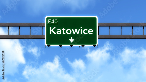 Katowice Poland Highway Road Sign