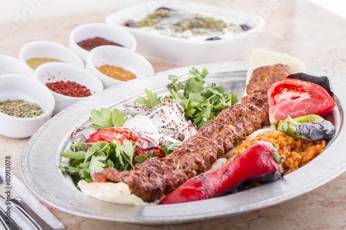 Canvas Print Turkish Kebab Adana, Urfa, Beyti, Abbaganus, Sogurme