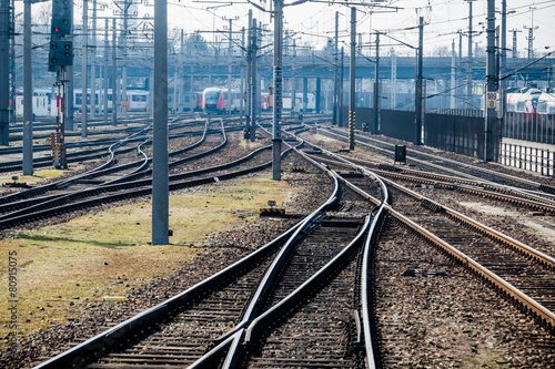 Tuinposter Spoorlijn Schienen mit Weiche