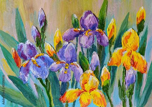 Obraz Kwiaty, bukiet irysów - obraz na płótnie - fototapety do salonu