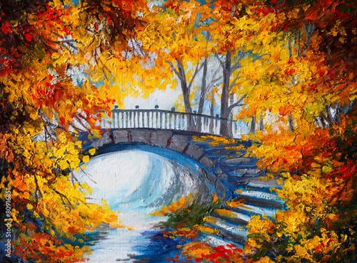 obraz-olejny-jesienny-las-z-droga-i-mostem-nad-rzeka