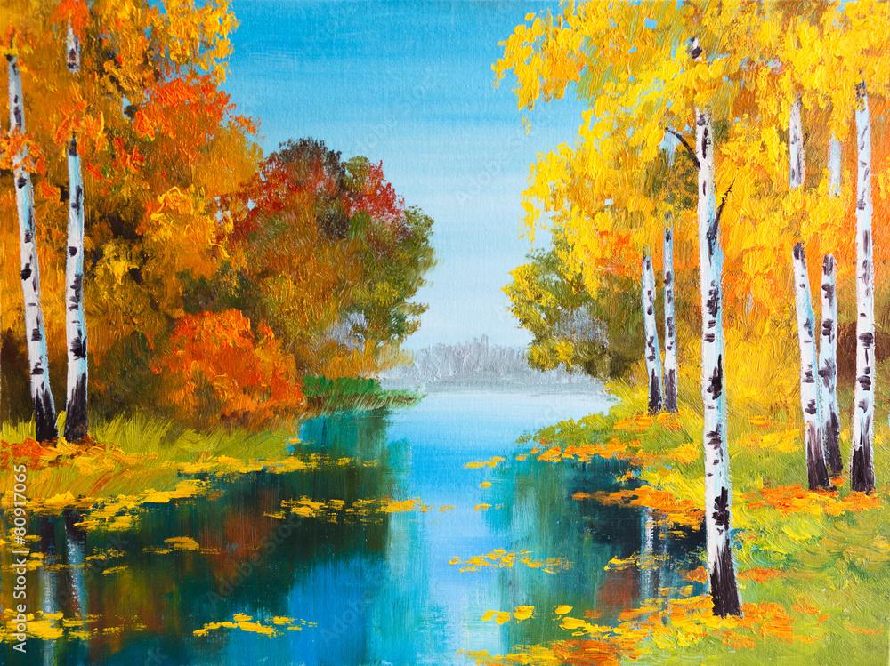obraz olejny krajobraz - brzozowy las w pobliżu rzeki <span>plik: #80917065 | autor: Fresh Stock</span>