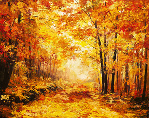 FototapetaOil painting landscape - colorful autumn forest