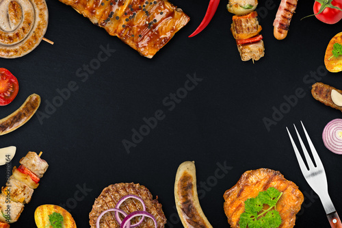 In de dag Grill / Barbecue grilled meat background