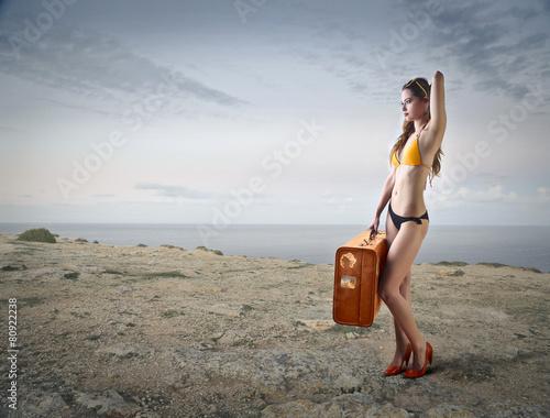 Fotobehang Fantasie Landschap High heels at the beach
