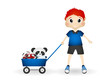 Little boy bring his toys with cart