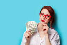 Women In Red Glasses With Money