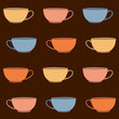 Hand drawn Tea Cups Illustration. Seamless vector pattern.