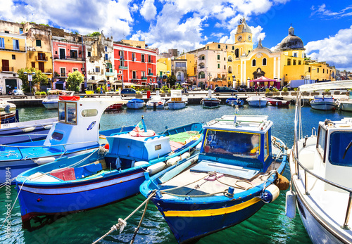 Garden Poster Napels Procida , beautiful colorful small island of Italy