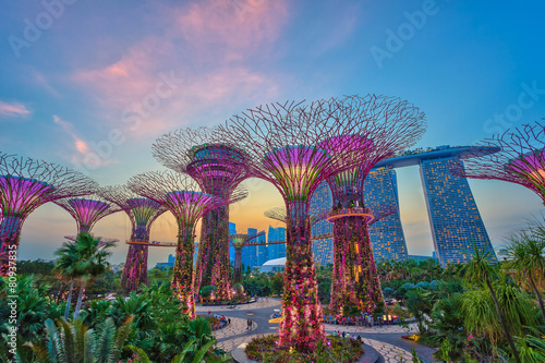 Canvas Print sunset at Singapore city