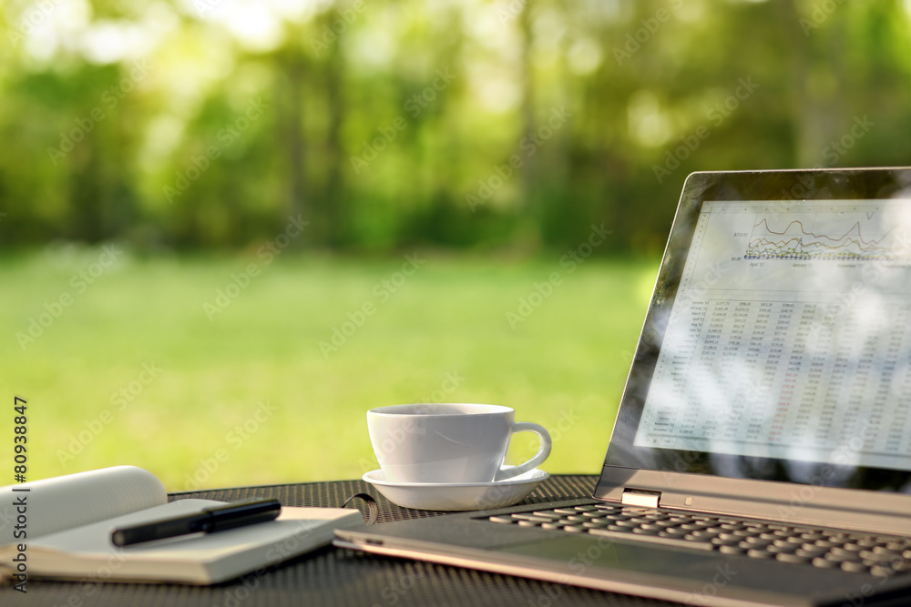 Fototapety, obrazy: Laptop and coffee in outdoor office
