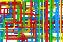 Maze Of Colorful Pipes Backgro...