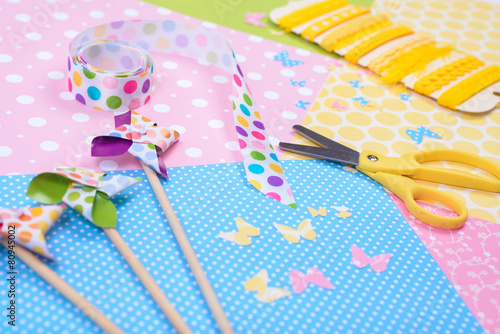 Fotografie, Obraz  Closeup of colorful accessories for craft