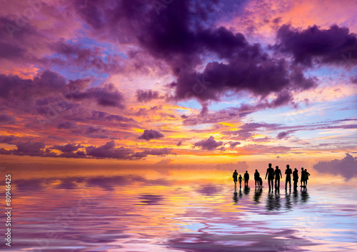 Silhouettes of people at sunset on the beach of Kuta Bali I #80946425