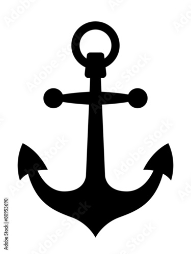 Canvas Print Simple black ships anchor silhouette