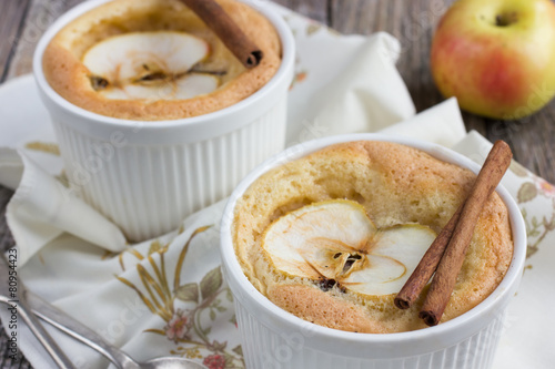 Sweet apple souffle with apple slice and cinnamon Poster