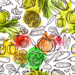 FototapetaWatercolor Vegetable Pattern