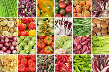 Group Of Images With Fresh Vegetables On  Market