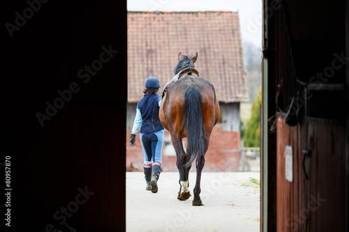 Foto auf Gartenposter Reiten Rider with the horse
