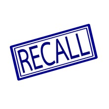 Recall Blue Stamp Text On White