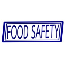 Food Safety Blue Stamp Text On White