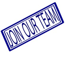 Join Our Team Blue Stamp Text On White