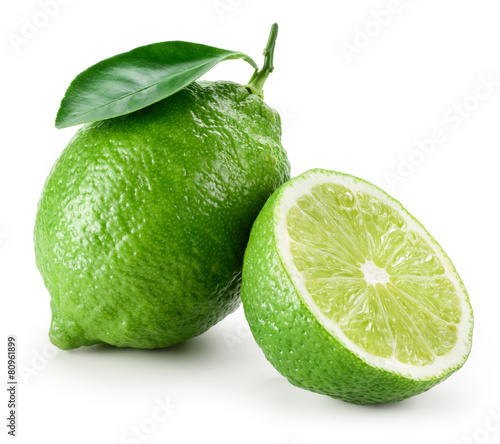 Lime. Whole and a half isolated on white