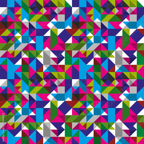 Bright seamless pattern with geometric figures, colorful mosaic