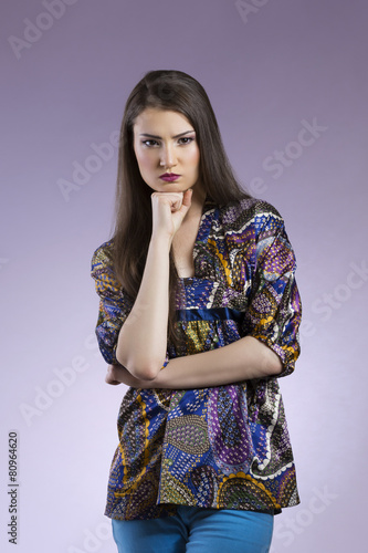 Fotografie, Obraz  Angry asian woman with crossed hands