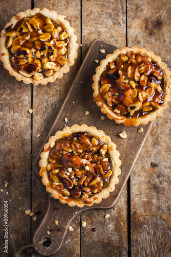 Tart with nuts and caramel Wallpaper Mural