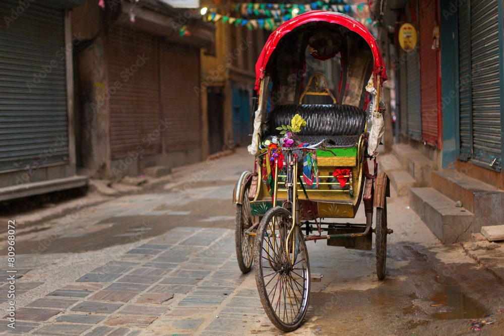 Valokuva  Empty rickshaw on street of Kathmandu, Nepal