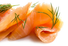 Smoked Salmon In Slices With Dill Garnish