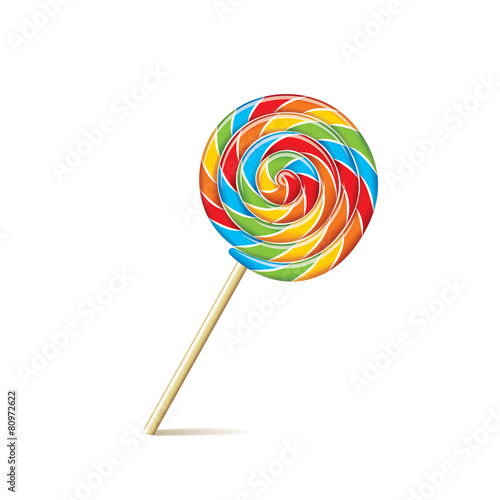 Colorful lollipop isolated on white vector Poster Mural XXL