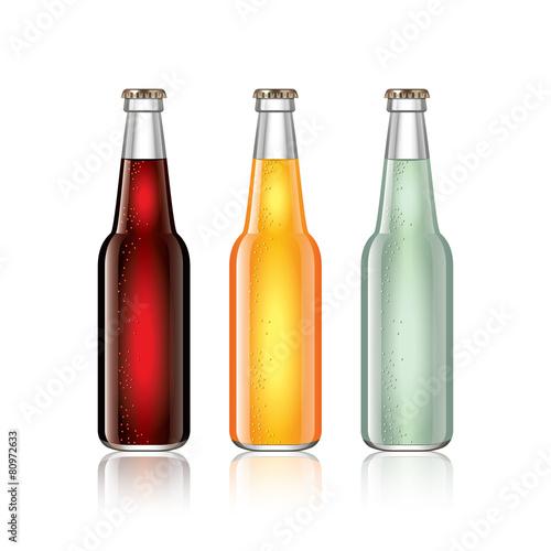 Photo  Glass soda bottles isolated on white vector