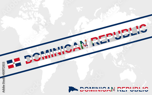 Dominican Republic map flag and text illustration - Buy this stock on
