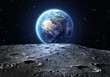 canvas print picture - blue earth seen from the moon surface