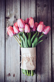 Fototapeta Tulipany - fresh spring pink tulips