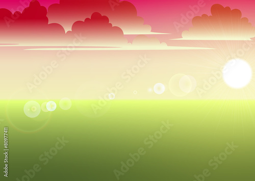Foto op Canvas Pool landscape with grass clouds and sun