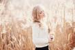 Leinwanddruck Bild - Portrait of a beautiful young blonde girl, smiling
