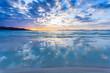 Beautiful sunrise on Alcudia beach, Majorca island, Spain