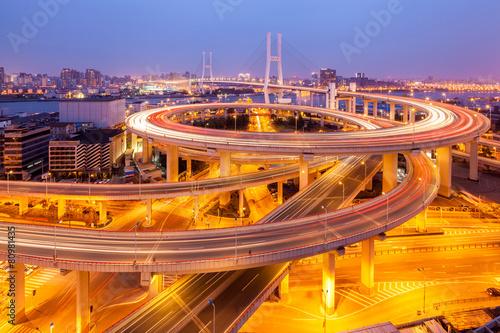 beautiful nanpu bridge at dusk ,crosses huangpu river ,shanghai ,China Poster