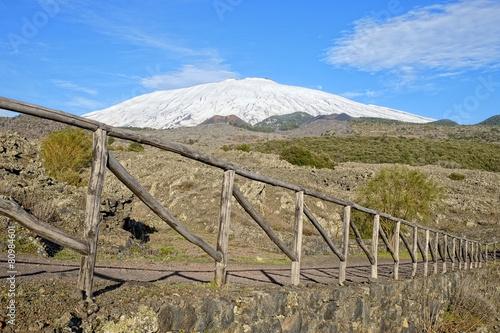 Fényképezés  Fence And Snowy Etna in National Park, Sicily