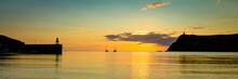 Panorama Of Port Erin Bay, Isle Of Man, Sunset